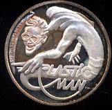 Plastic Man Cartoon Celebrities Silver Round