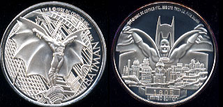 Batman Returns DC Comics Inc. 1964 Mintage: 5,000 Set Number: 1805 Spread Wing Batman Silver Round