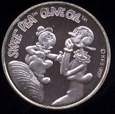 Swee' Pea & Olive Oil Cartoon Celebrities Silver Rounds