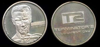 1991 Terminator 2 Arnold Schwarzenegger Silver Round