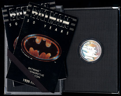 Batman 50th Anniversary DC Comics 1989 Commemorative Proof Limited Edition Silver Art Rounds The Batwing Grey Case