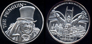 Batman Returns DC Comics Inc. 1964 Mintage: 5,000 Set Number: 1805 The Penguin Silver Round