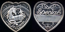 "Unicorn Heart 2 ""For Someone Special"" Blank Engraving Line 1/2 oz Silver Round"