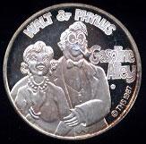Walt & Phyllis Cartoon Celebrities Silver Round