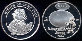 Wishes Do Come True Raggedy Ann SN: 0623 Silver Art Round