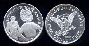 Little Orphan Annie 1 troy oz Silver round
