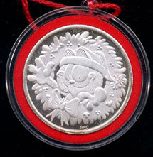 1990 Garfield Christmas Silver Round