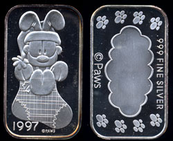 ST-229V  Odie in Stocking   silver artbar