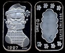 ST-230 Garfield in Stocking   silver artbar