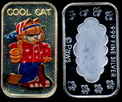 "ST-234EN #2  Enameled Garfield ""Cool Cat"" Silver Art bar"