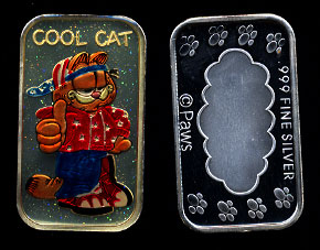 "ST-234EN #1  Enameled Garfield ""Cool Cat"" Silver Art bar"