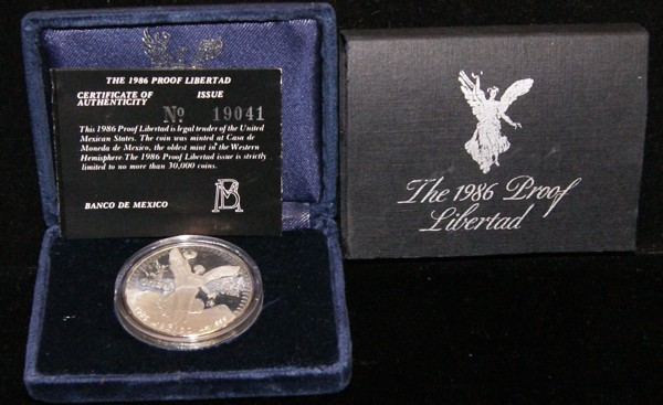 1986 Proof Libertad w/ Box and COA