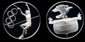 Proof 1972 Olympic Gymnast Postmasters of America No. 25 Silver Art Round