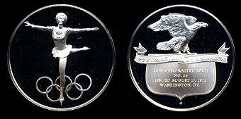 Proof 1972 Olympic Ballerina Postmasters of America No. 24 Silver Art Round