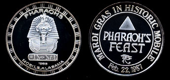 Proof 1985 Pharaoh's Feast Mardi Gras Silver Art Round