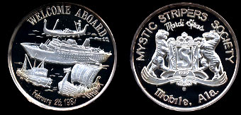 1987 Proof Welcome Aboard Mystic Stripers Society Mardi Gras Mobile, Alabama Silver Round