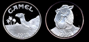 1993 Joe Camel Round Choice Frosted Proof Silver Round