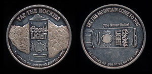 "Coors Light - 2 Tap The Rockies 1995 ""Let the mountain come to you"" Silver Round"