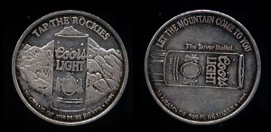 "Coors Light - 3 Tap The Rockies 1995 ""Let the mountain come to you"" Silver Round"