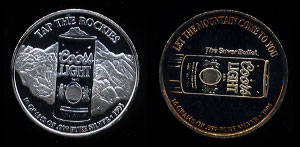 "Coors Light - 4 Tap The Rockies 1995 ""Let the mountain come to you"" Silver Round"