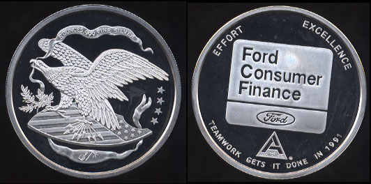 "1991 Ford Ford Consumer Finance ""Teamwork Gets It Done In 1991"" Silver Round"