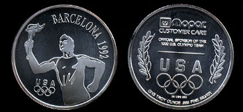 1992 Barcelona Olympic MOPAR Customer Care 1oz Silver Round