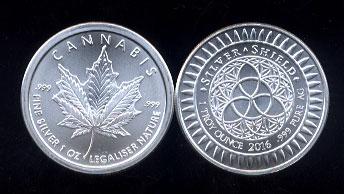 Cannabis Round (Silver Shield) 1 Oz. Fine Silver Round
