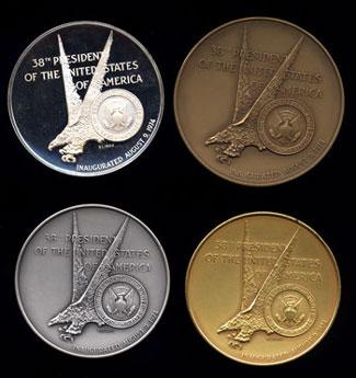 Reverse Gerald Ford 4-medal Sterling Silver set