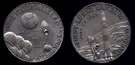 First Lunar Landing July 20, 1969 Apollo II 50 MM .999 Fine Silver (3 Ounces)