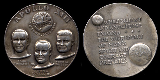 Apollo XIII Moon Mission 5 Oz silver medal