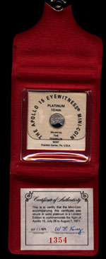 Apollo 15 Eyewitness Mini-coin (Platinum) July 26-August 7, 1971