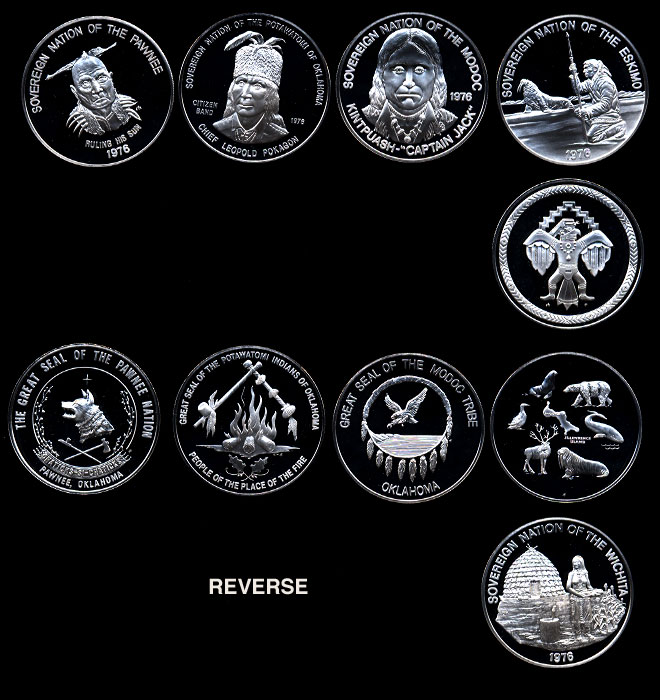 1971-1976 Fra1971-1976 Franklin Mint's Indian Tribes Proof Silver Setnklin Mint's Indian Tribes Proof Silver Set
