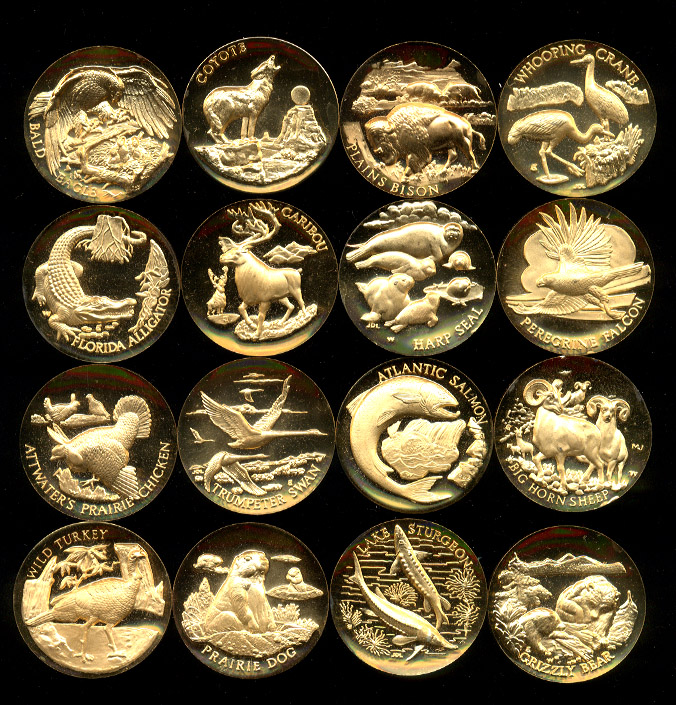 Endangered Wildlife 24K Goldplated Sterling Silver Medal Set