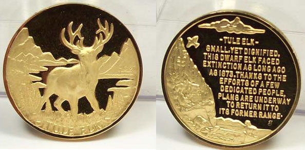 Endangered Wildlife 24K Goldplated Sterling Silver Medal