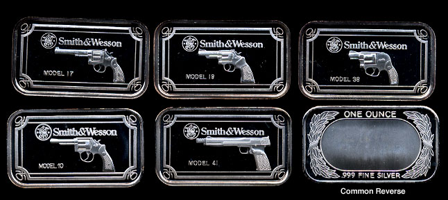 Smith Amp Wesson Proof Pistol Silver Set Five Troy Ounce