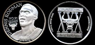 1998 Dennis Rodman No 91 Chicago Bulls Silver Art Round