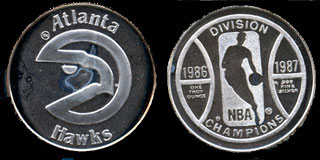 Atlanta Hawks NBA Division Champions (1986-1987) Silver Round