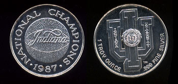 Indiana University 1987 National Champions Silver Round