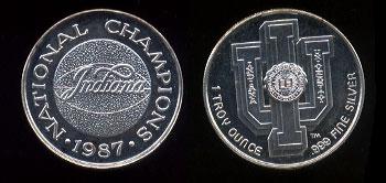 Indiana University 1987 National Champions Silver Round