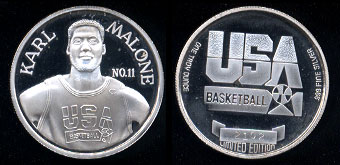 Karl Malone #11 USA Basketball Limited Edition Silver Round