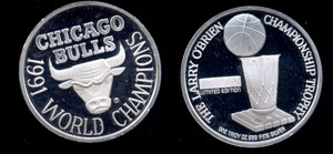 Chicago Bulls 1991 World Champions Silver Round