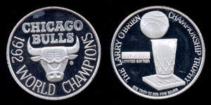 Chicago Bulls 1992 World Champions Silver Round