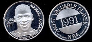 Michael Jordan 1991 NBA Most Valuable Player Silver Round