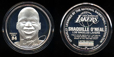 Shaquille O'Neal Silver Round with box and COA #0703