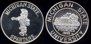 Michigan State Spartans 1 Ounce of .999 Fine Silver Silver Round