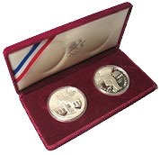 2- Piece Set 1983 and 1984 Proof Olympic Dollars