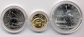 1986 Statue of Liberty Three Coin Uncirculated Set