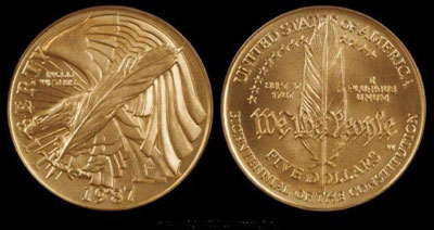 Unc Constitution $5 Gold Coin