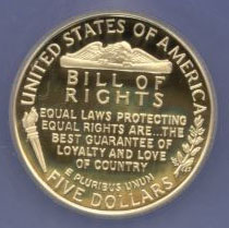 1993 Bill Of Rights  Proof Five Dollar Gold Coin